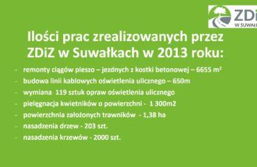 ILOŚCI PRAC ZREALIZOWANYCH PRZEZ ZDIZ W SUWAŁKACH W 2013R.
