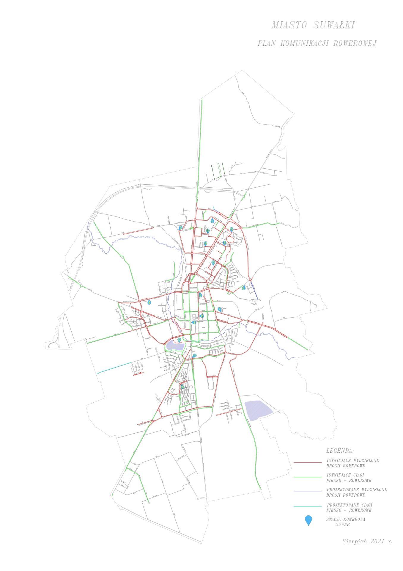 Mapa ścieżek rowerowych 01.08.2021r.